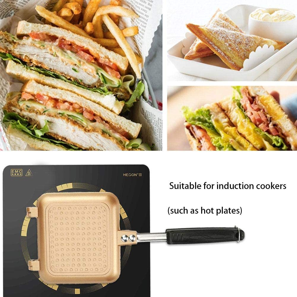 Sandwich Grill Waffle Maker Non-Stick Toaster Sandwich Maker Double-Sized Frying Pan Tray for Home Kitchen Panini Presses Gold