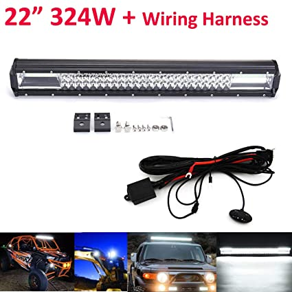 22inch LED Bar Lights with Wiring Harness & Mounting ckets 324W Waterproof on jeep wrangler wiring diagram, jeep ignition switch wiring diagram, jeep yj wiring diagram, chevy 4.3 wiring harness, chevy engine wiring harness, jeep to chevy motor mounts,