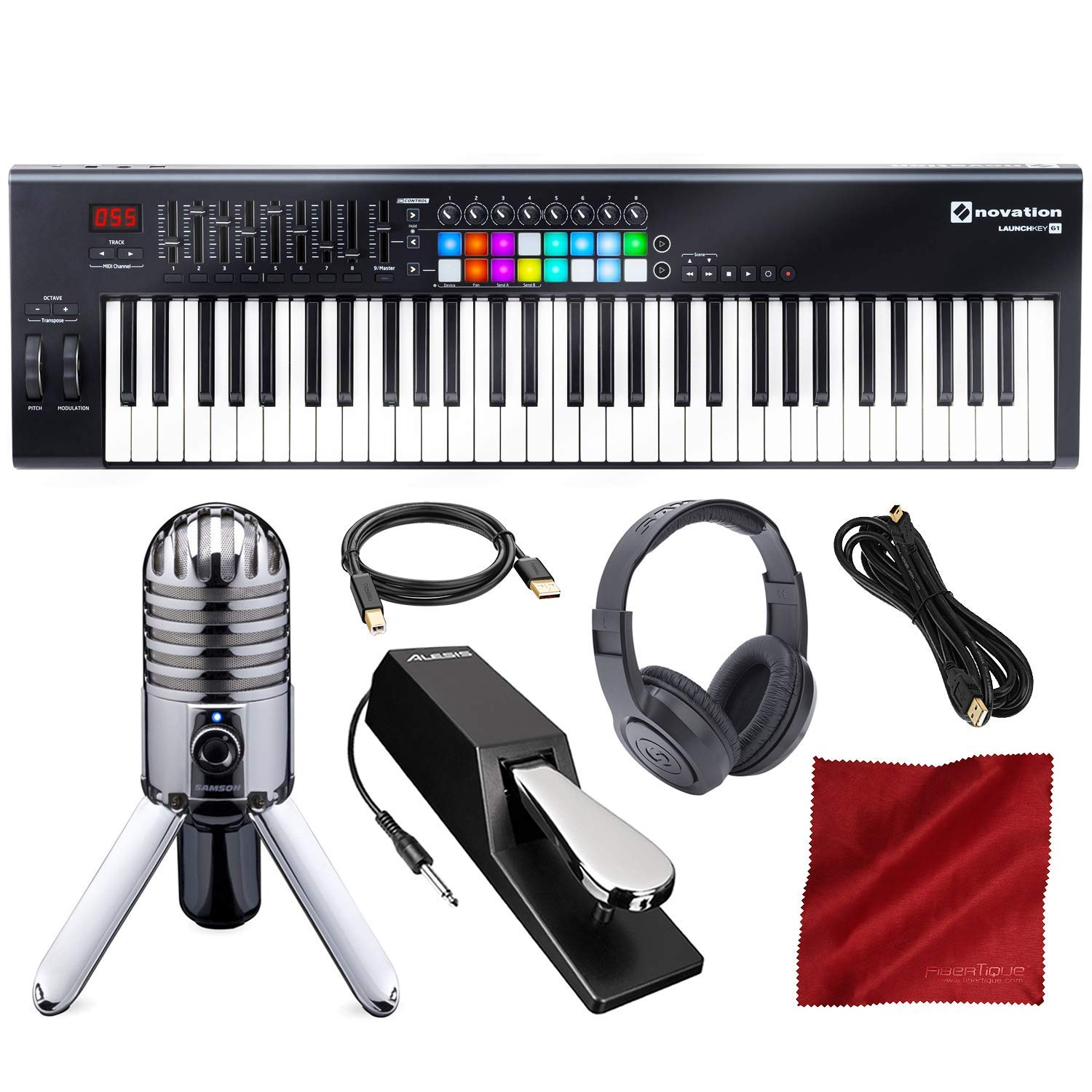 Novation Launchkey MK2 61-Key USB Keyboard Controller for Ableton Live with Microphone & Headphones Deluxe Bundle by Novation - Photo Savings