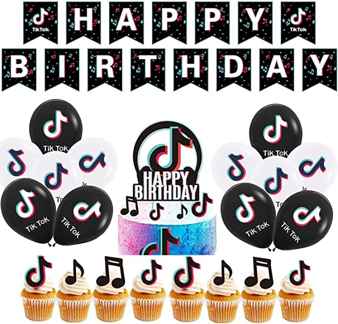 Banners Cake Topper Balloons Decorations Backdrop for Kids Boys Girls Party Tik Tok Birthday Party Decorations Kit 40 PCS TIk Tok Party Decorations