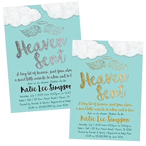 Amazon blue heaven sent baby shower invitations boy religious blue heaven sent baby shower invitations boy religious filmwisefo