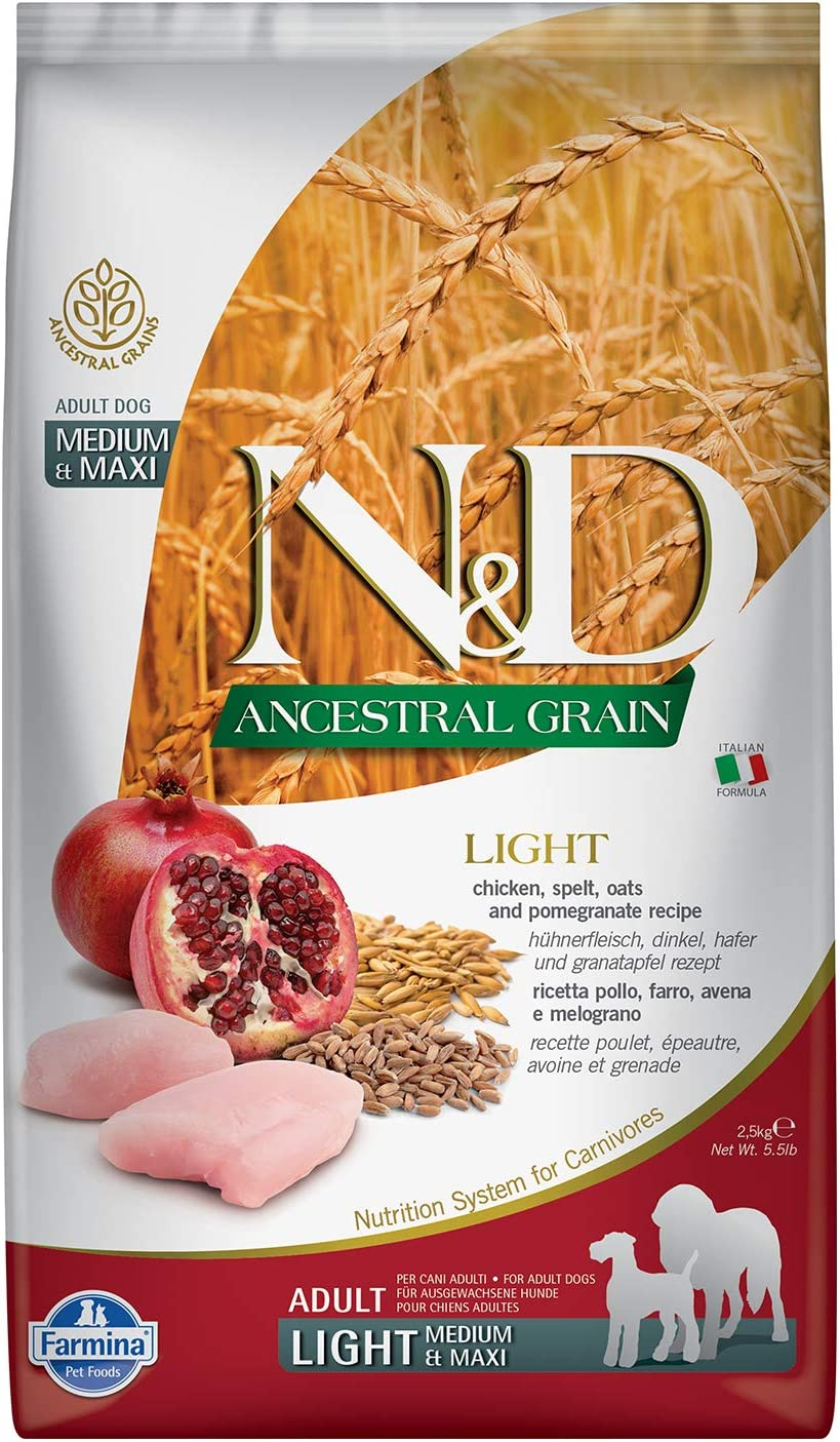 Farmina N&D Ancestral Grain Light Med/Maxi Chicken and Pomegranate Dry Dog Food, 5.5 Pounds