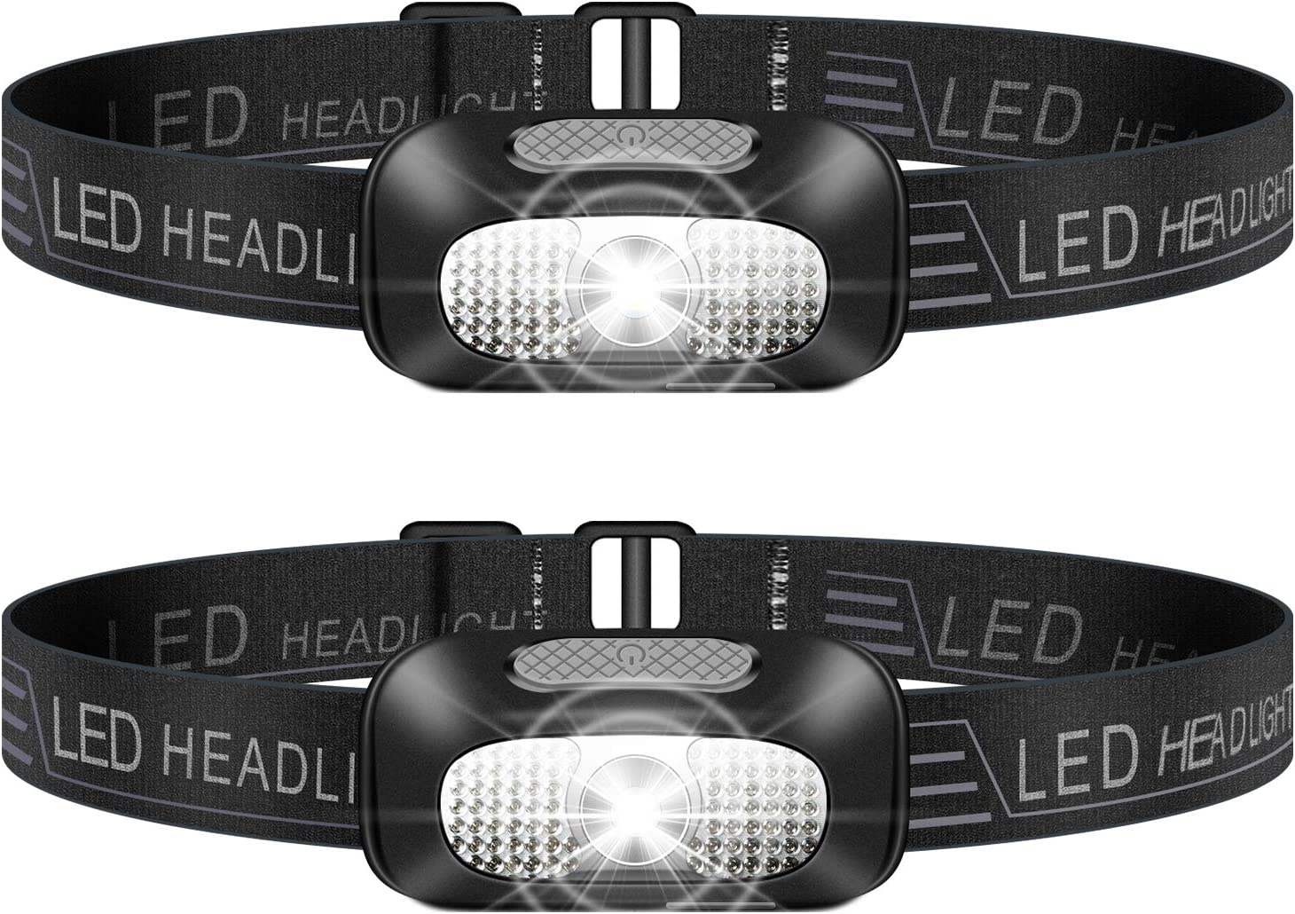 SYOSIN Headlamp Flashlight, 2 Pack Lightweight Headlight, USB Rechargeable Super Bright Waterproof Head Lamp for Camping, Cycling, Climbing, Hiking, Fishing, Night Reading, Running: Home Improvement