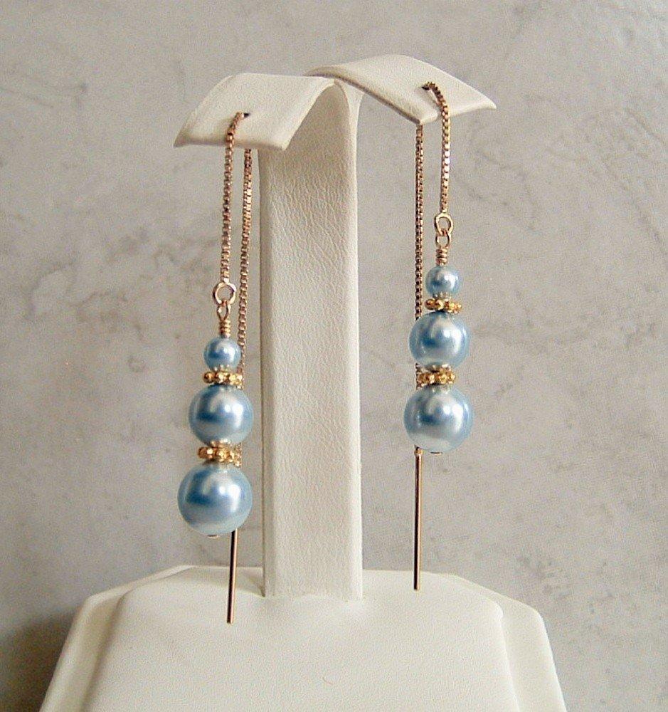 Light Blue Swarovski Elements Simulated Pearl Earrings Gold Filled Ear Threaders