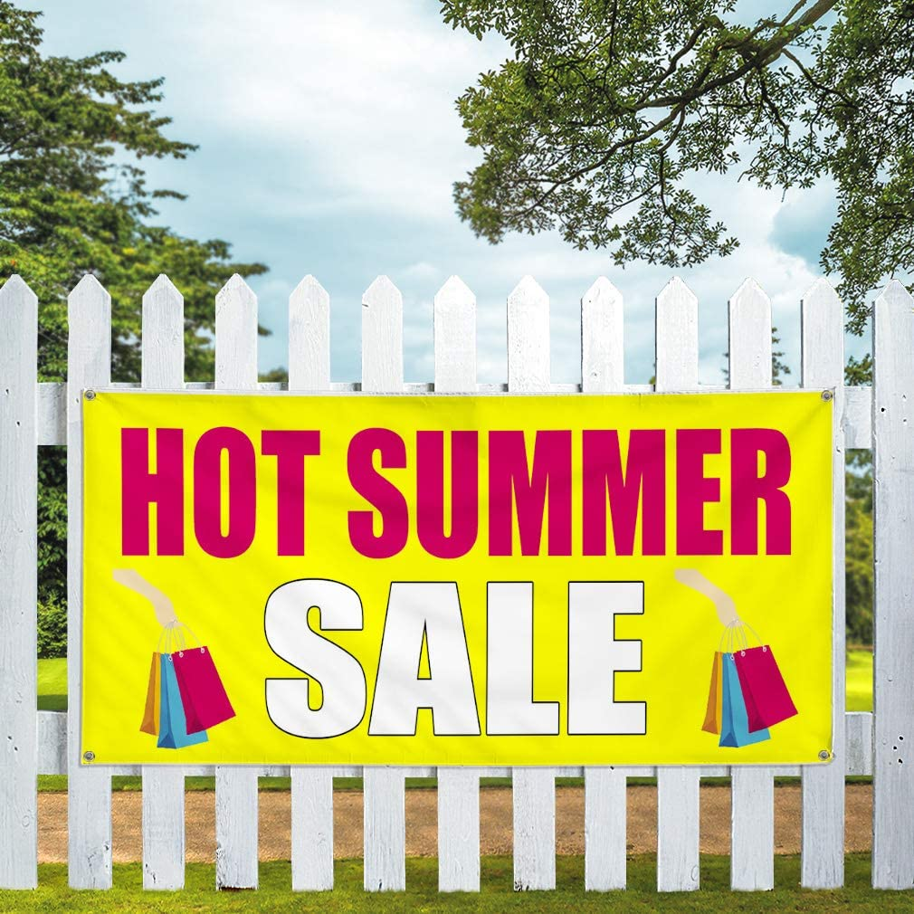 Vinyl Banner Multiple Sizes Hot Summer Sale Business Outdoor Weatherproof Industrial Yard Signs Red 8 Grommets 48x96Inches