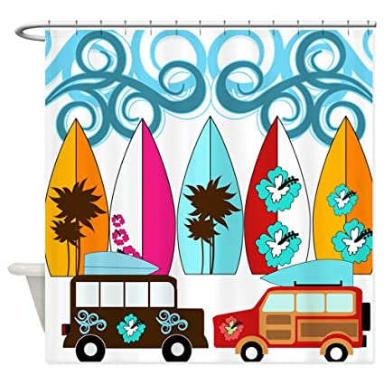 CafePress – Surfer tablas de surf diseño de playa Palm árboles flores – decoración tela cortina