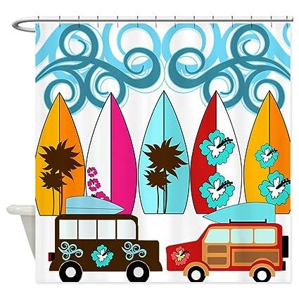 CafePress – Surfer tablas de surf diseño de playa Palm árboles flores – decoración tela cortina