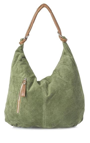 b32374c8d0 Big Handbag Shop Women Real Italian Suede Leather Large Hobo Shoulder Bag  (Medium Olive)  Amazon.in  Shoes   Handbags