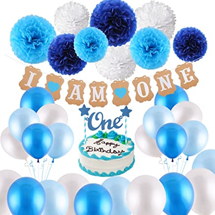 "VEYLIN 1st Birthday Decorations for Baby Boys in Blue Kit - I AM ONE Bunting Banner, Cake Bunting Topper ""One"", 9 Tissue Paper Flowers, 15 Balloons with Ribbon for Boy Birthday Supplies (Blue)"