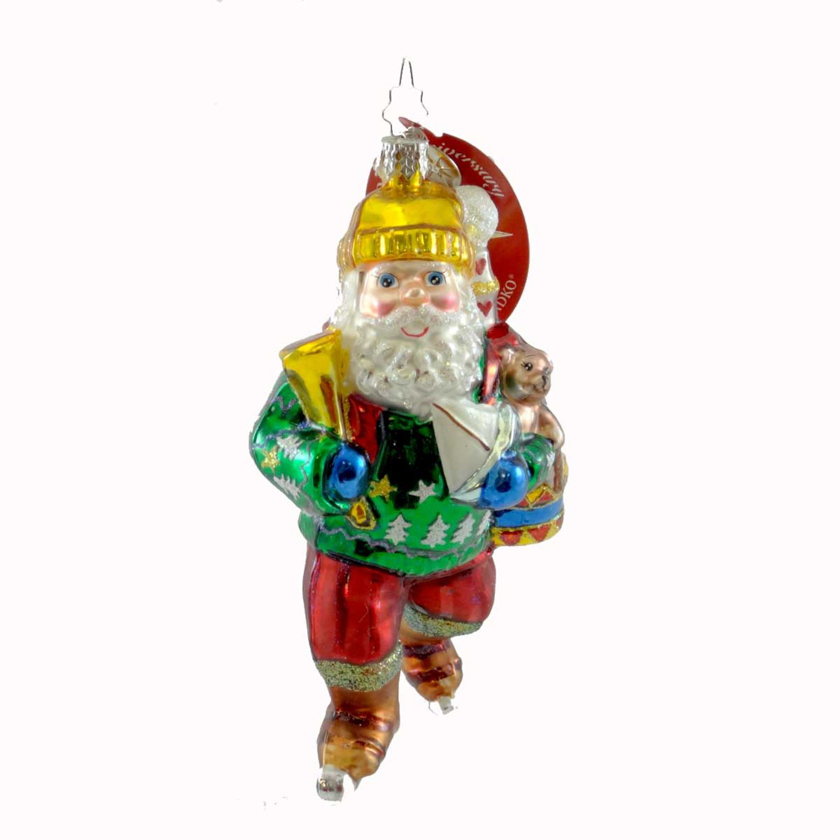 Christopher Radko GIFT GLIDER Glass Ornament Santa Ice Skate