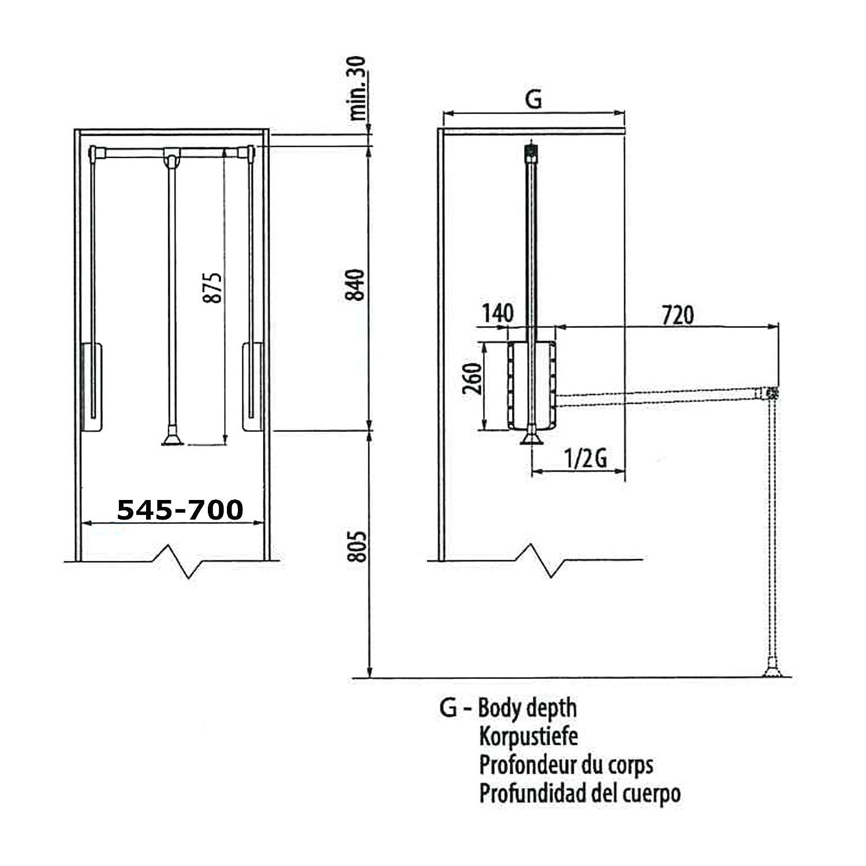 SO-TECH® Barra colgador basculante Barra abatible para armario Ancho adaptable de 450-1150 mm blanco