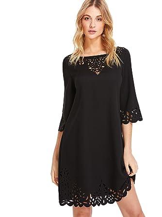 bd306c7f888 ROMWE Femme Midi Robe Manches Courtes Col Rond Boho Robe Courte Noir   Amazon.fr  Vêtements et accessoires