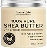 PURE Shea Butter by Buena Skin | Organic Cold-Pressed, Raw, Unrefined, Great To Use Alone or DIY Body Butters, Lotions, Soaps, Eczema & Stretch Mark Products, From Ghana - 8 oz