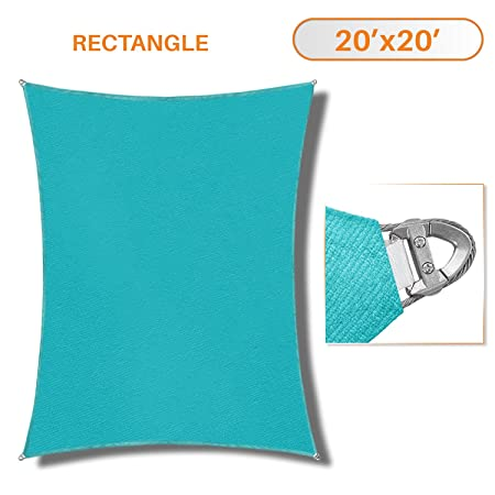 TANG Sunshades Depot A Ring Design Steel Cable Wire Reinforcement Sun Shade Sails 20 x 20 Square Turquoise Heavy Duty Permeable 260 GSM