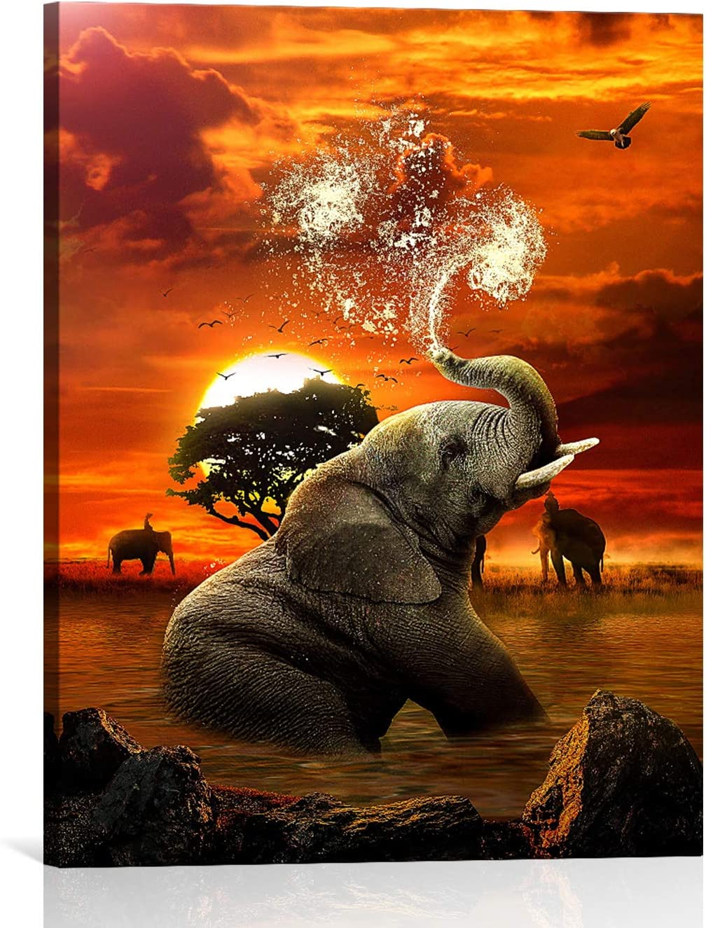 Elephant Canvas Wall Art for Bathroom, African Elephant Modern Canvas Wall Art,Elephant Playing with Water Animals Sunset Landscape Print on Canvas Art Wall Decor for Bedroom Ready to Hang 8x12 inch