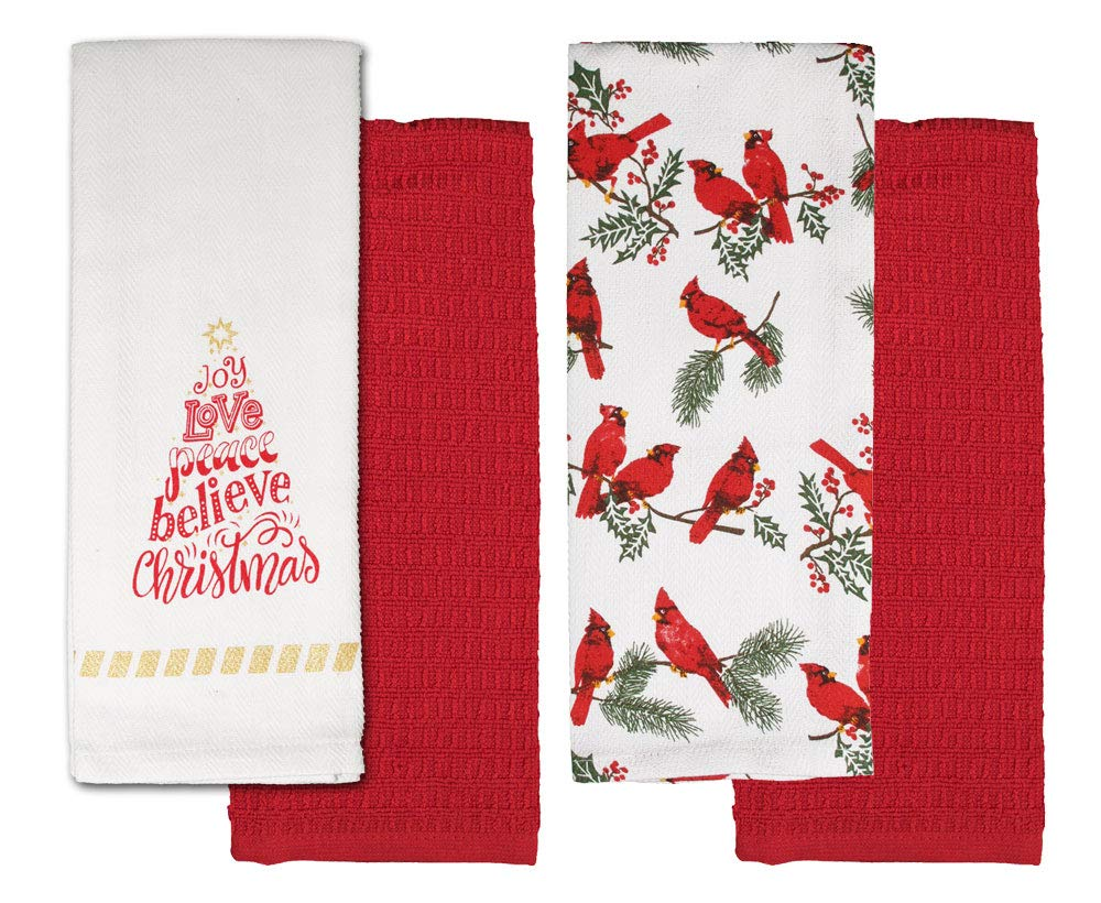 Buy Christmas Kitchen Towels Printed Holiday Towels With Red Towels Set Of 4 Tea Towels For Christmas Holiday Season Cardinal Believe In Christmas Online At Low Prices In India Amazon In