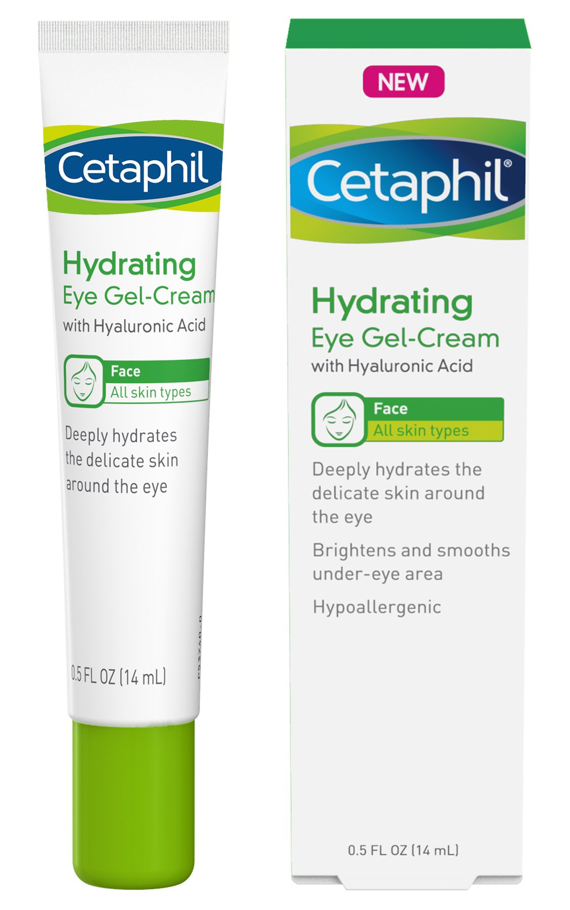 Cetaphil Hydrating Eye Gel-Cream With Hyaluronic Acid - Designed to Deeply Hydrate, Brighten & Smooth Under-Eye Area - For All Skin Types - Hypoallergenic & Suitable for Sensitive Skin - 0.5 Fl. Oz by Cetaphil