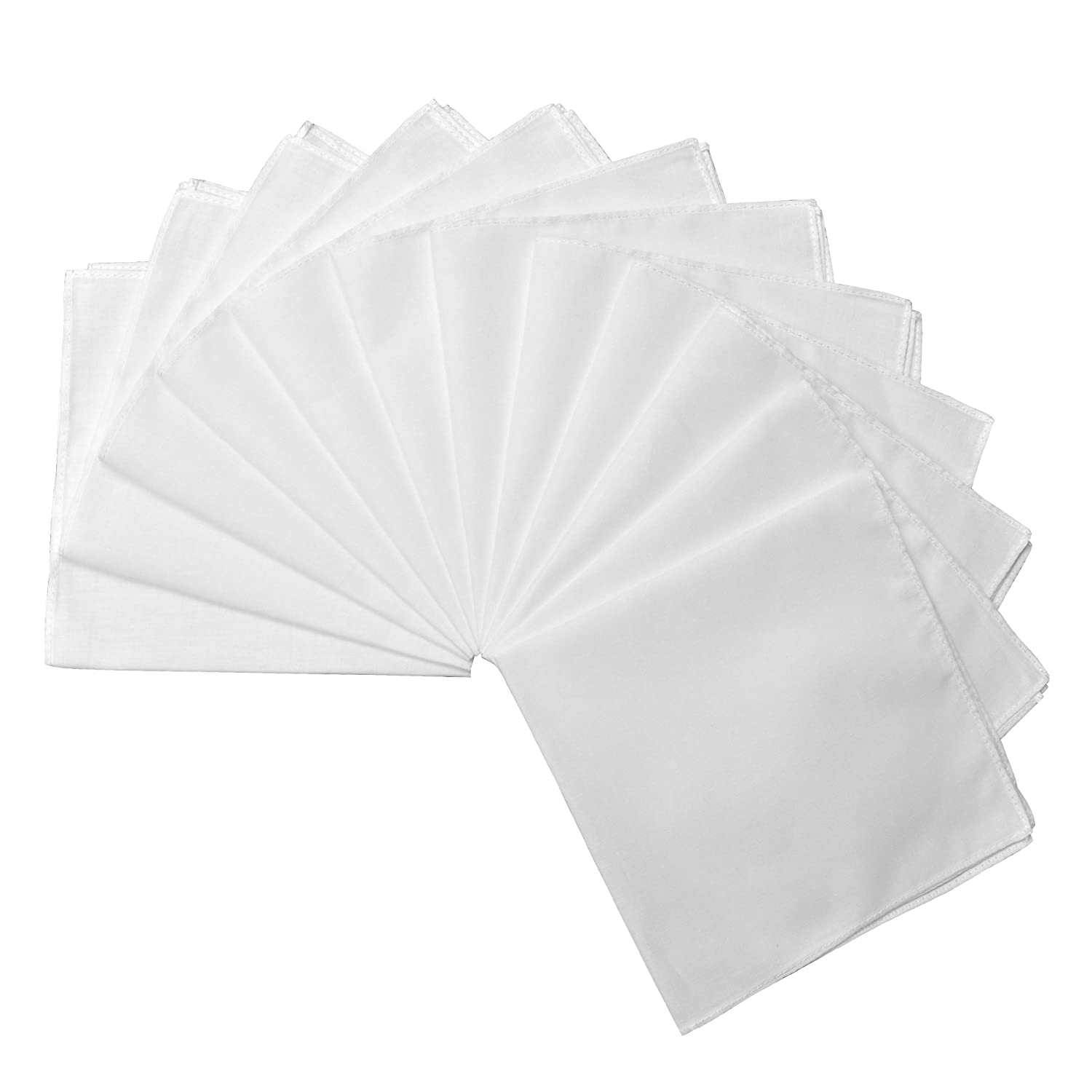 Milesky Solid White Handkerchiefs Premium 60S Cotton Unisex 11 x 11 inch (Pack of 12)