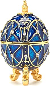PAIQ Royal Blue Faberge Egg Handmade Unique Gift Decorative Trinket Box Collectible Ornaments Home Decor Easter Egg