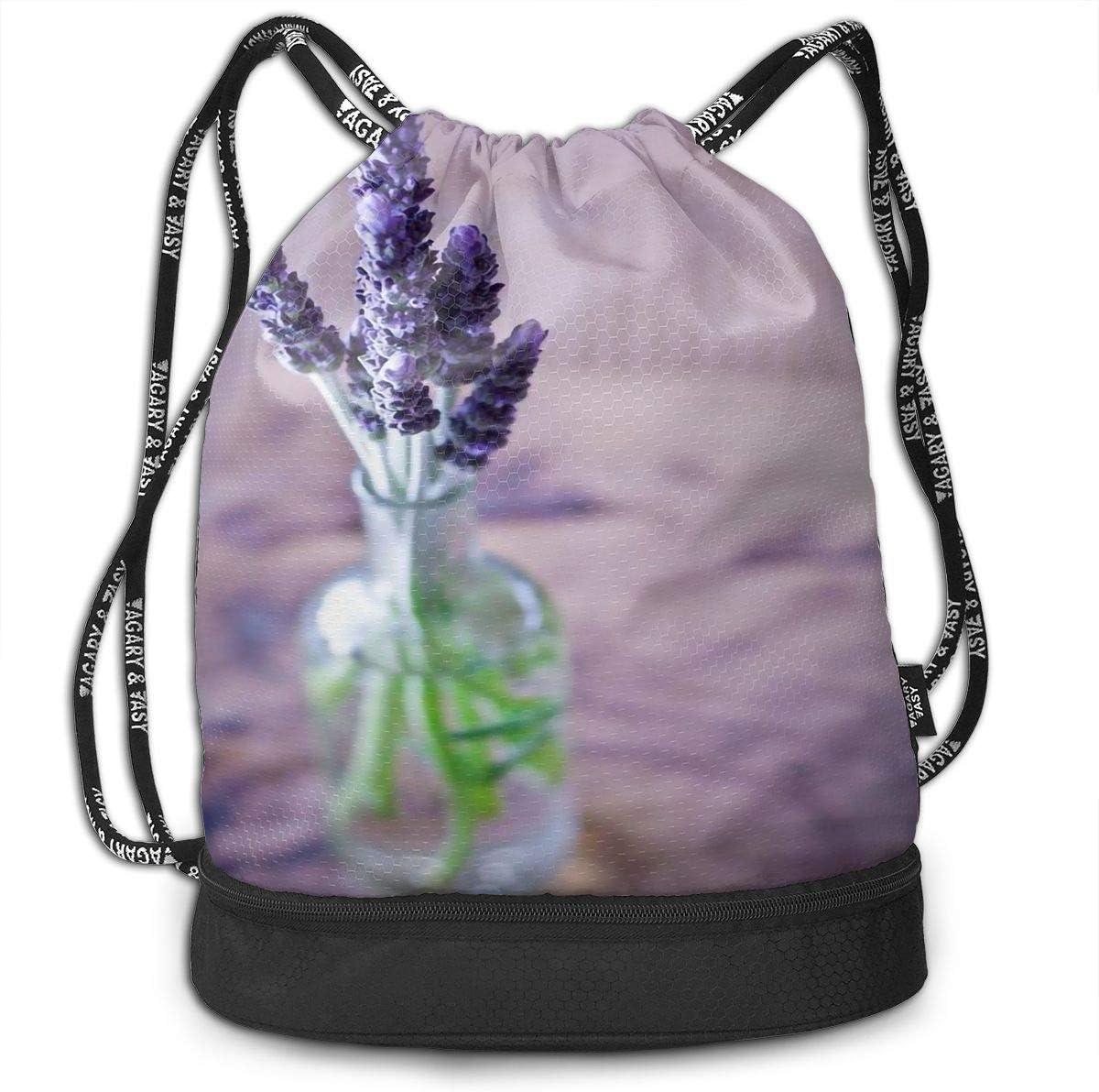 Drawstring Backpack Purple Charming Lavender Rucksack