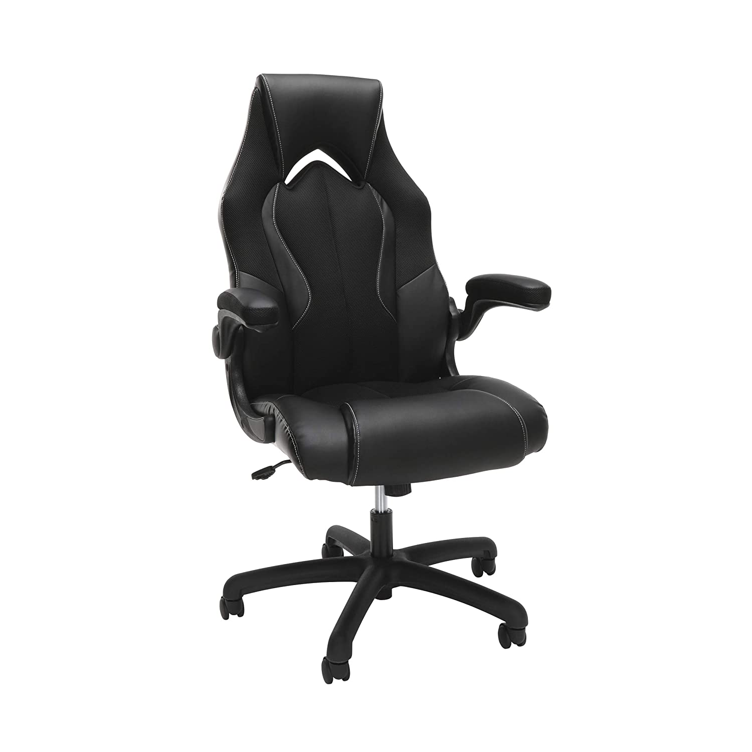 OFM Essentials Collection High-Back Racing Style Bonded Leather Gaming Chair, in Black (ESS-3086-BLK)