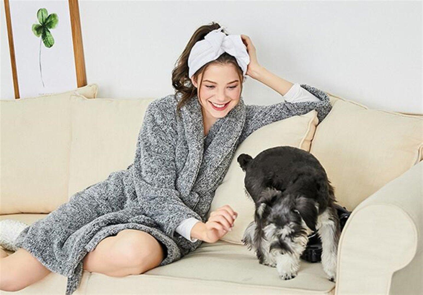 OHlive Señoras Albornoz Camisón Robe Warm Grueso Collar Albornoz Pijamas (Color : Grey, tamaño : L): Amazon.es: Hogar