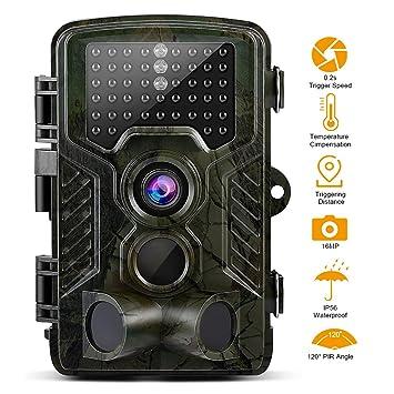 Cámara de Caza 16MP 1080P HD Trail Cámara con Visión Nocturna de PIR Infrarrojo Sensor de