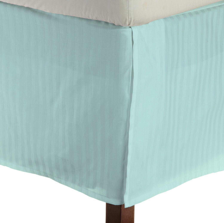 パーフェクトフィットエジプト綿1ピースプリーツテーラードベッドスカート400スレッドカウント15インチドロップ長ストライプ (アクアブルー、キングサイズ) B00TOBUSNK