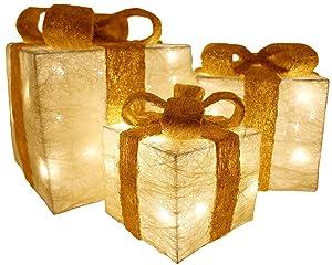 Estuche de regalo con brillo de 3, Goldjutepakete con lazo doradas, iluminado con 55 LEDs