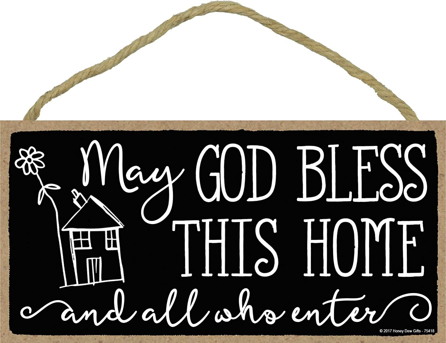 May God Bless This House and All Who Enter - 5 x 10 inch Hanging, Wall Art, Decorative Wood Sign Home Decor
