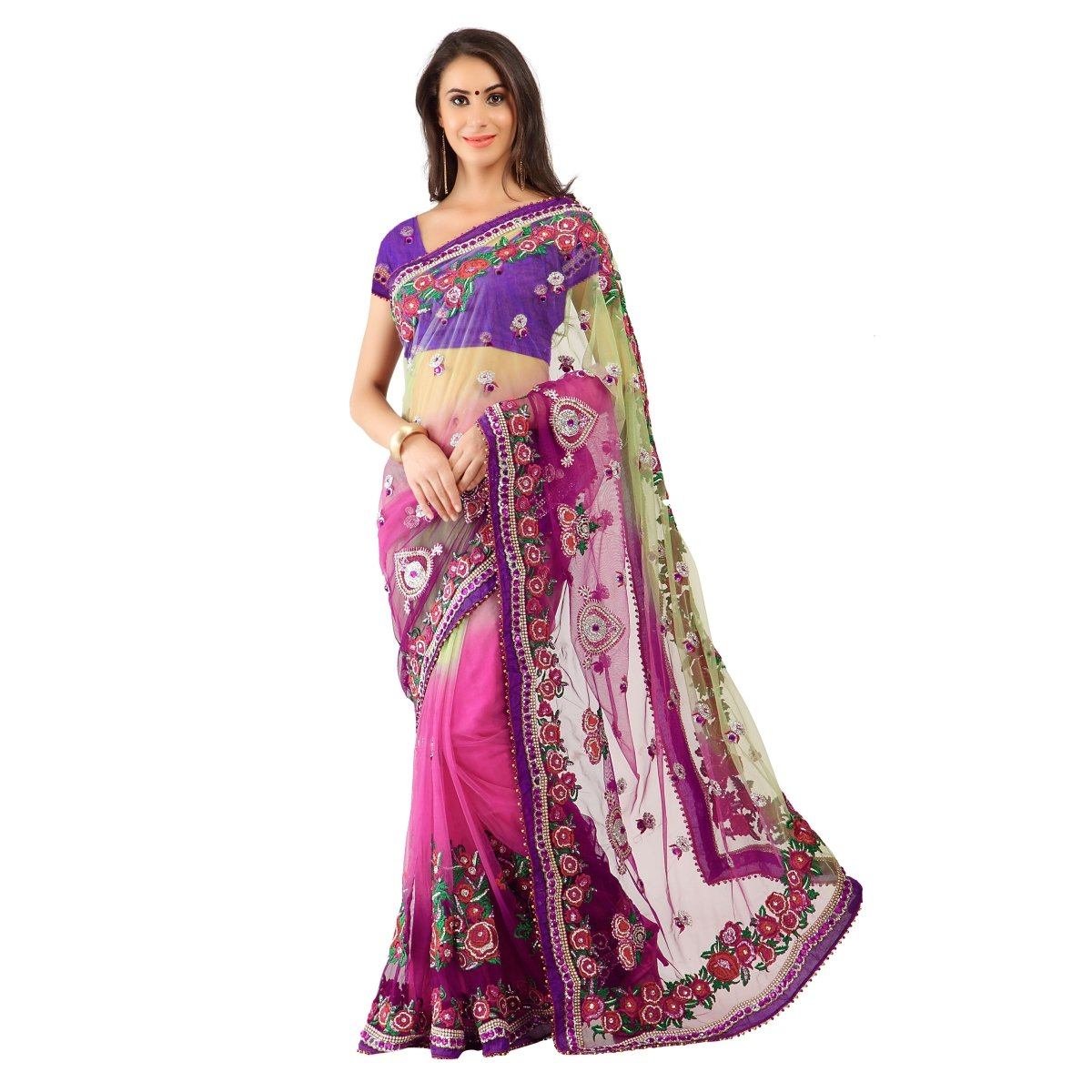 Triveni Women's Indian Pink Net Embroidered Sarees