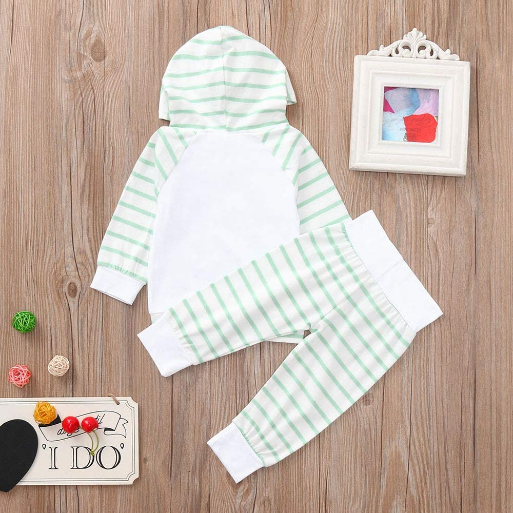 Vinjeely Infant Baby Boys Girl Letter Striped Print Hooded Tops Pants Outfits Fall Set 0-24 Months