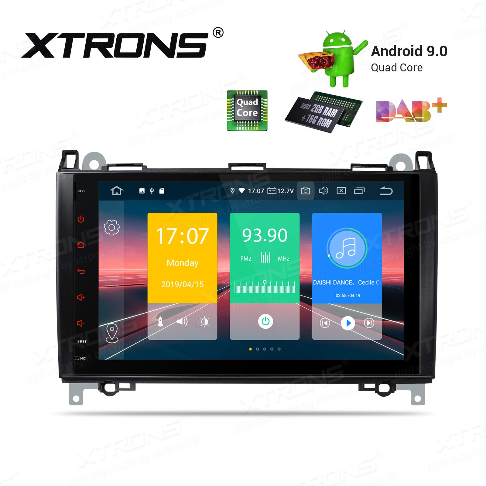 XTRONS Android 9.0 Car Stereo Radio GPS Navigation 9 Inch Touch Screen Slim Design Head Unit Supports Plug and Play WiFi Bluetooth 5.0 Backup Camera DVR OBD2 TPMS for Mercedes Benz W169 W245 W639