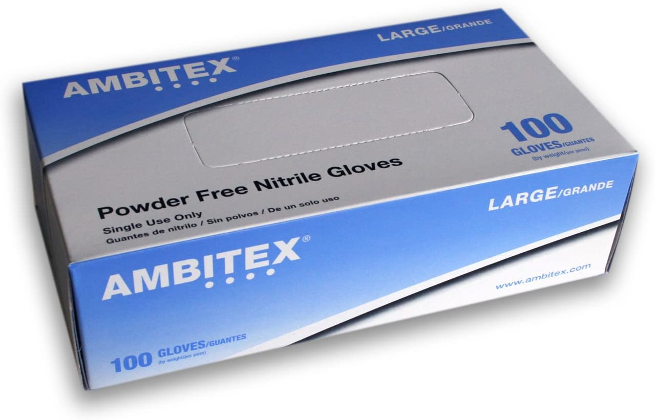 Tradex International Powder-Free Nitrile General-Purpose Gloves, Large, Blue, Box of 100 Gloves