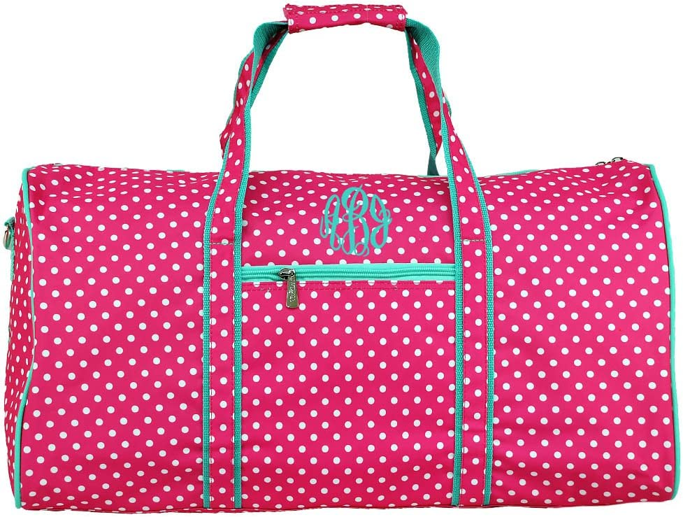 Monogrammed Pink Polka Dot with Mint Trim Girls Duffle Bag