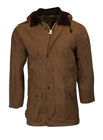 bdb8234028f Walker   Hawkes - Mens Unpadded Wax Jacket Countrywear Hunting Waxed Coat -  Beige - Small