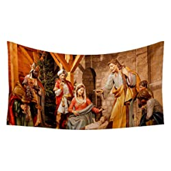 ArtzFolio Christmas Nativity Scene Silk Tapestry Wall Hanging 35.4 x 19.9inch