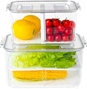 Fridge Produce Saver Food Storage Containers Stackable Refrigerator Organizer with Lids and Removable Drain Tray Drawers Bins Baskets for Kitchen