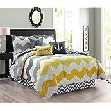 5-Piece Oversize CHEVRON ZIGZAG Designer Nautical Anchor Comforter Set Twin Size Bedding With Decorative Pillows (Yellow, Grey, White)