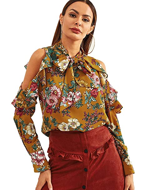 0e3a112afdba6a Romwe Women s Cold Shoulder Ruffle Long Sleeve Bow Tie Chiffon Floral Print Blouse  Top Yellow XS
