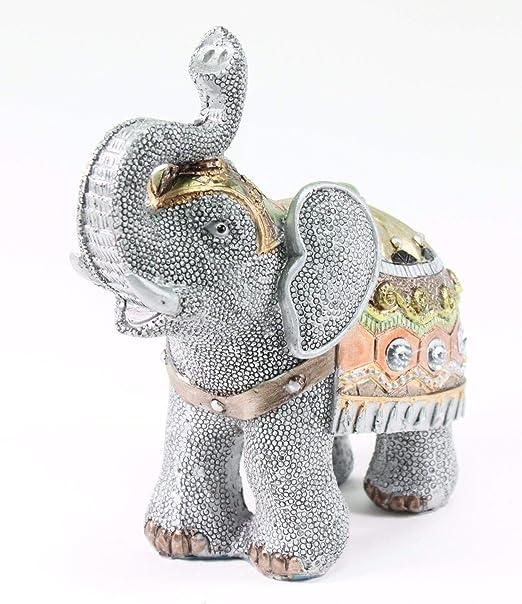 Set of 2 Feng Shui Gray Elephants Trunk Statue Lucky Figurine Gift /& Home Decor