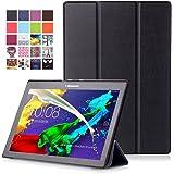"""Lenovo Tab 2 A10 / Tab3 10 Plus / Tab3 10 Business Étui - Housse à Rabat Fonction Réveil / Sommeil Automatique pour Lenovo Tab 2 A10-30 / A10-70 / Tab3 10 Plus / Tab3 10 Business 10"""" Tablet, Noir"""