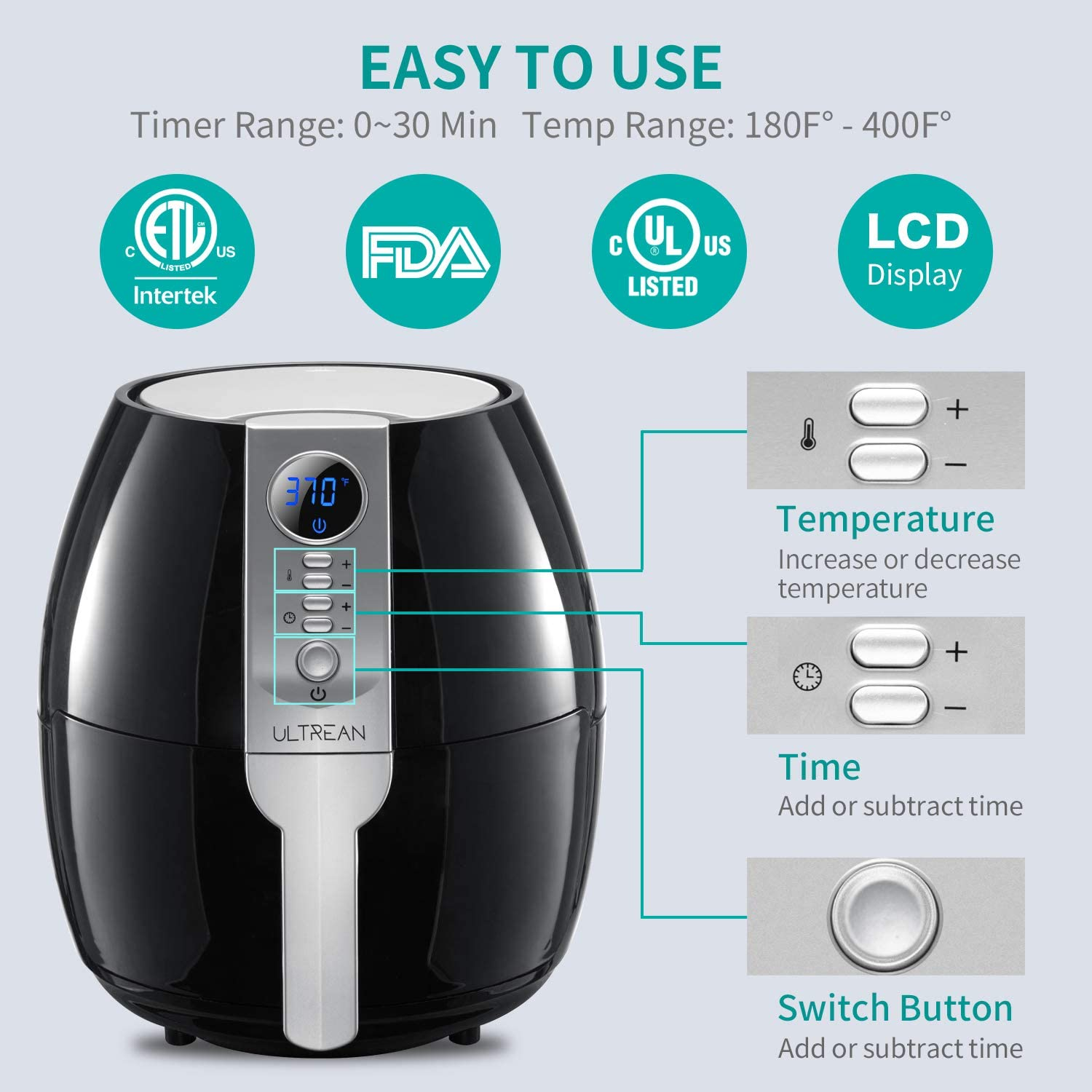 Ultrean Air Fryer 4.2 Quart - Easy to use - Temp, Time, Switch button
