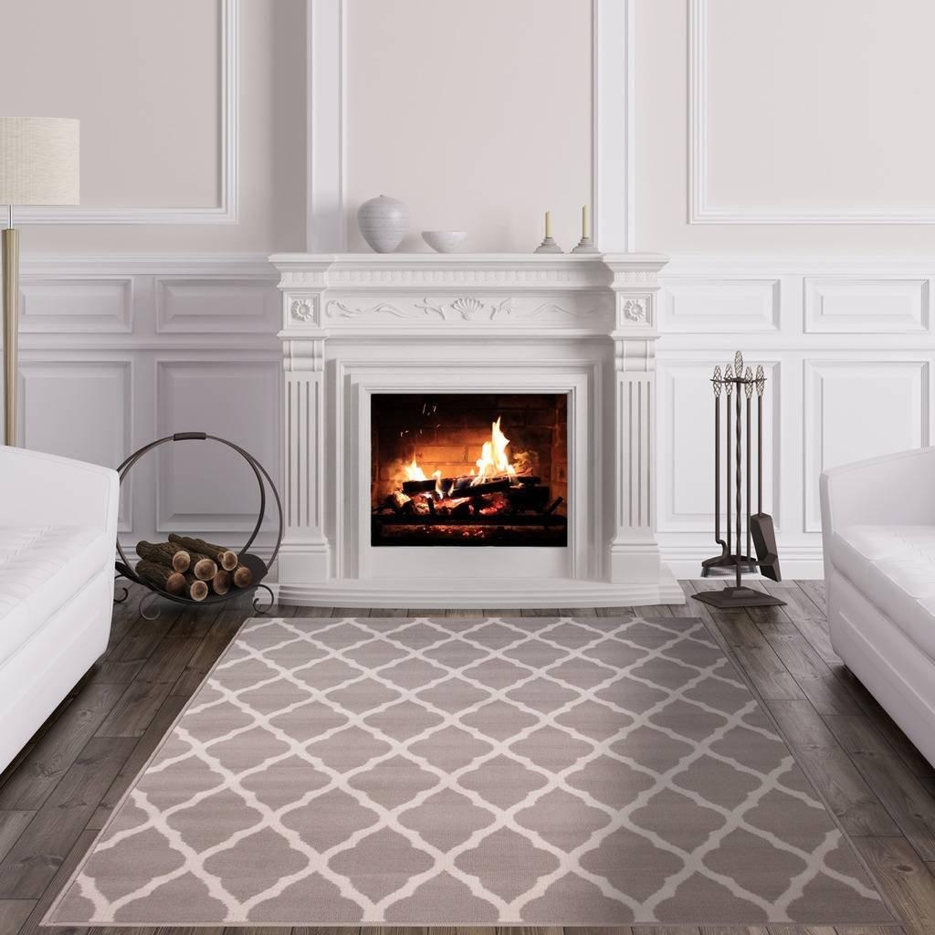 Milan Soft Touch Grey Brown Taupe Classic Grey Trellis Geometric Print Rug 80 cm x 150cm The Rug House S 1799-H22 Milan 5247