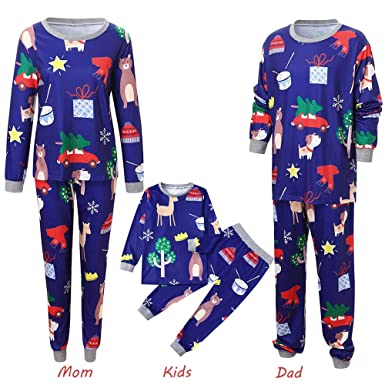 699c7b5b9 Amazon.com: 4Clovers Family Christmas Pajamas Matching Sets Elk Print Blue  Loungewear Tops & Trousers Holiday Sets: Clothing