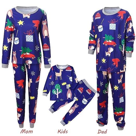 c12ce52d0df Amazon.com  Christmas Family Matching Pajamas Set Cartoon Parent-Child  Nightwear Homewear  Clothing