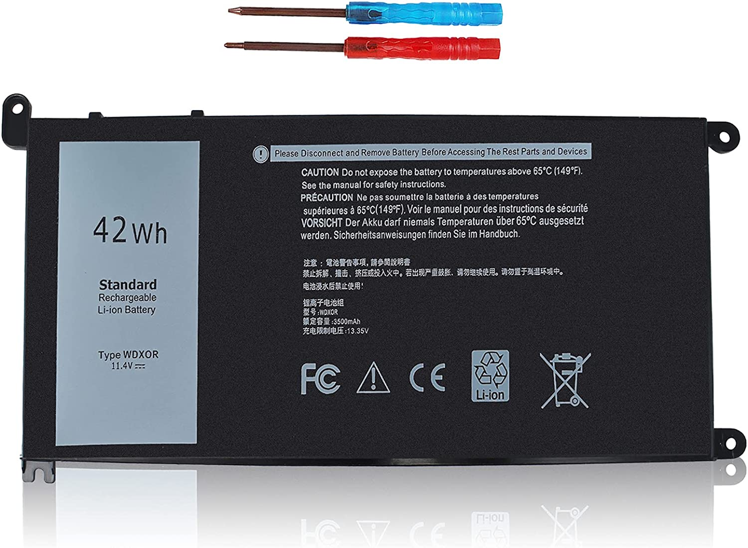 WDXOR Battery for Dell Inspiron 15 5000 Series 5538 5565 5567 5568 5570 5575 5578 5579 5580 15-5567-D1525A 15-5567-D1525R 15-5567-D1545A 15-5567-D1625A 15-5567-D1625L Y3F7Y FC92N CYMGM 3CRH3 P58F