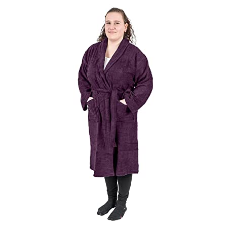 ba8c75567c Homescapes Purple Adults Dressing Gown with Luxury Shawl Collar 100% Egyptian  Cotton Terry Towelling Unisex Bathrobe
