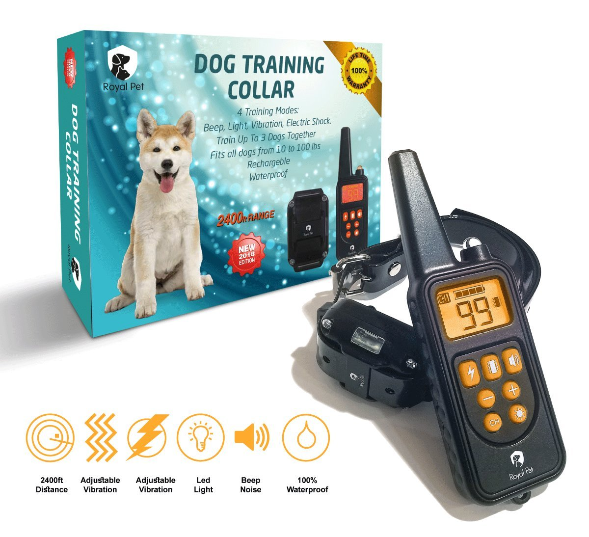 Dog Training E-Collar with Remote [ 2018 Edition ] - 2400 ft Range, IPX7 Waterproof & Rechargeable Collar With Beep, Vibration, Light and Shock - Dog Shock Collar for Puppy, Small, Medium & Large Dogs