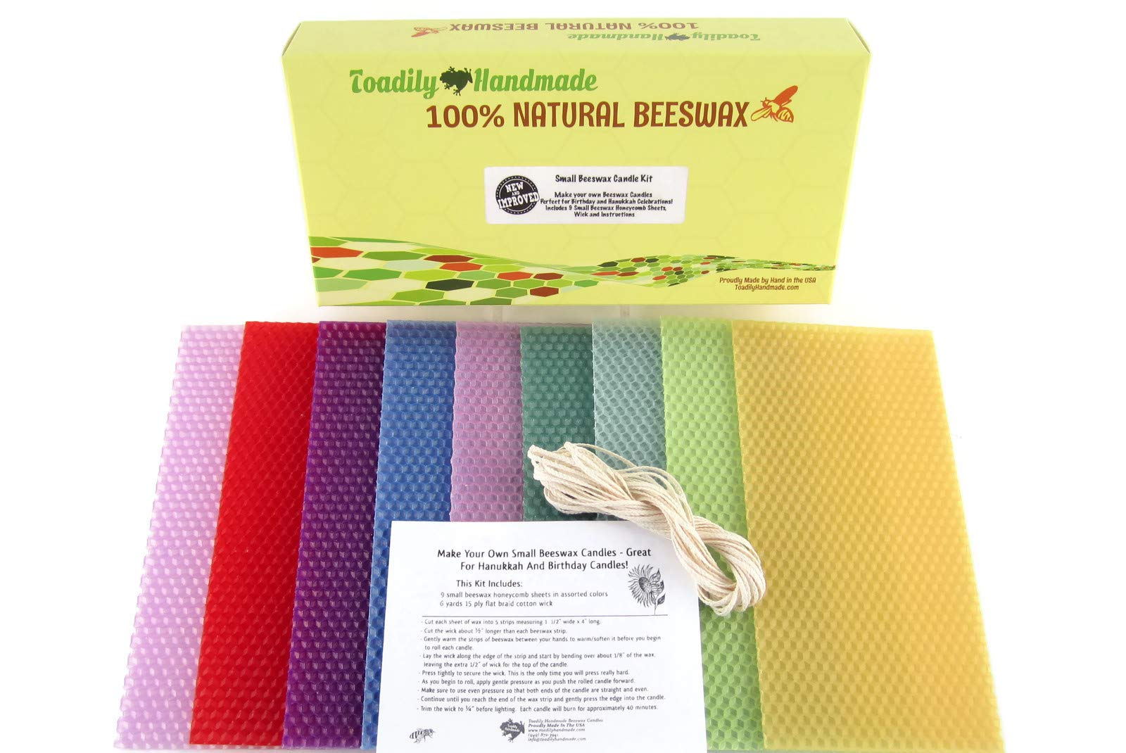 New & Improved Small Beeswax Candle Kit - Perfect for Making Hanukkah or Birthday Candles! Comes in a Beautiful Gift Box!